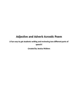 Adjective and Adverb Acrostic Poem