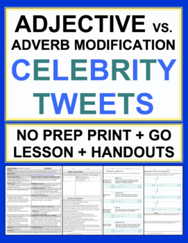 Adjective and Adverb Celebrity Tweets Grammar Lesson & Worksheets NO PREP