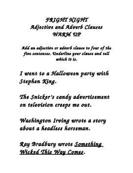 Adjective and Adverb Clause Fright Night