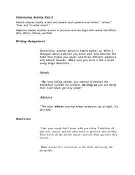 Adjective and Adverb Clauses Writing Assignment Dialogue Activity