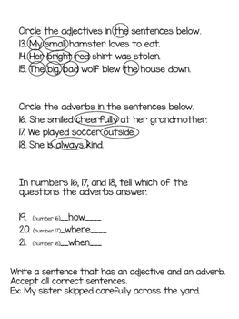 Adjective and Adverb Quiz