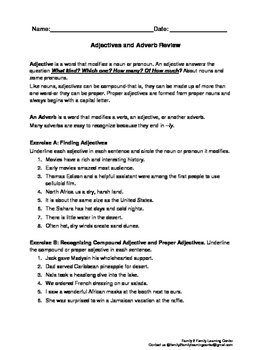 Adjective and Adverb Review Worksheet