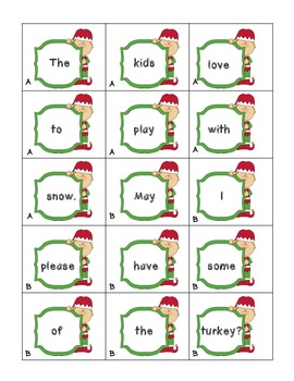 Adjective and Adverb Sentence Scrambles (Christmas and Winter Edition)