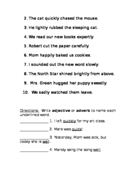 Adjective and Adverb Study Practice/Study Guide Packet
