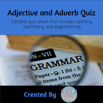 Adjective and Adverb Test Freebie