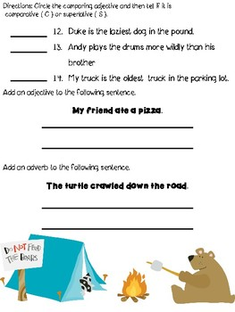 Adjective and Adverb Test Review