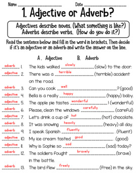 Adjective and Adverb Worksheets Common Core L.2.1e