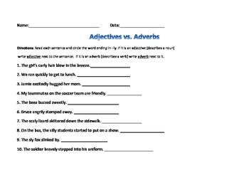 Adjective and Adverb practice and quiz with -ly words