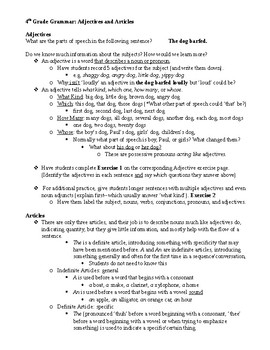 Adjective and Articles Lesson Plan