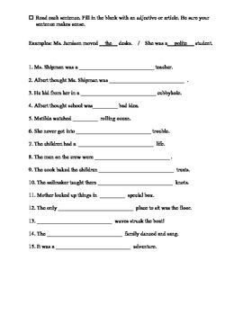 Adjective and Articles Tasks