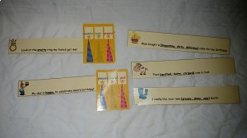 Adjective and Synonym Sentences- file folder game- literacy center- resource