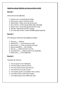 Adjective endings (Definite and demonstrative article)