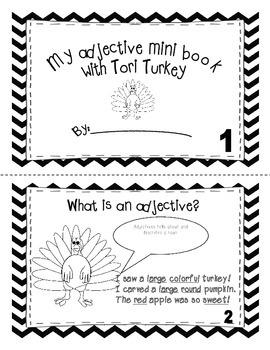 Adjective mini book with Tori the Turkey