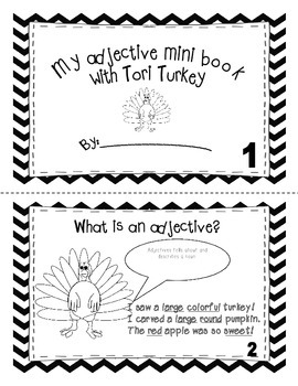 Adjective mini book with Tori the Turkey