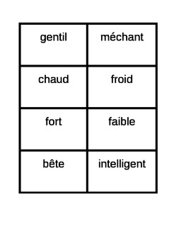 Adjectifs (Adjective opposites French) Concentration games