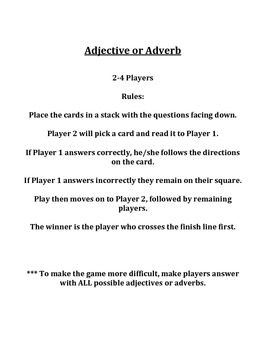 Adjective or Adverb Board Game