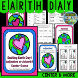 Adjective or Adverb? Earth Day Task Cards, Center Games, Printables and