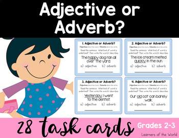 Adjective or Adverb Task Cards L.2.1.E
