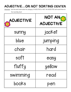 Adjective...or Not Sorting Center and Recording Sheet