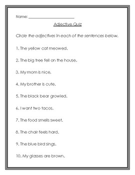 Adjective review and quiz