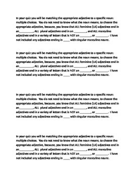 Adjective study guide