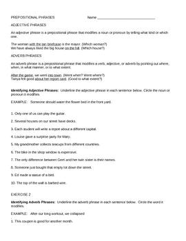 Adjective/Adverb Prep. Phrase Practice