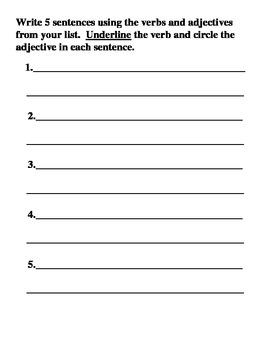 Adjective/Verb Sort