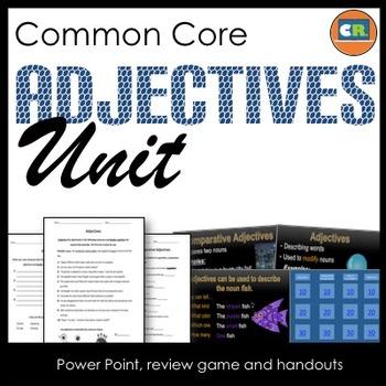Adjectives Unit - Parts of Speech Unit (PowerPoint, Handou