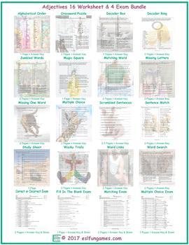 Adjectives 16 Worksheet- 4 Exam Bundle