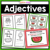 Adjectives Unit - Printables, Writing Activities, Mini Books, & Game)