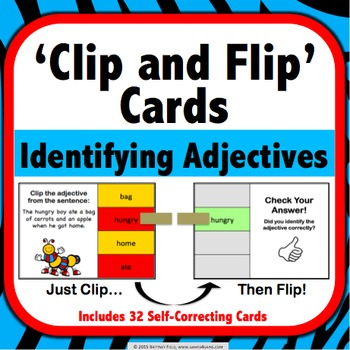 Identifying Adjectives Task Cards (Clip and Flip)