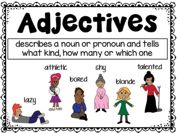 Adjectives Poster and Task Cards