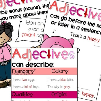 Adjectives Work with Posters, Cards, Booklet and Crafts