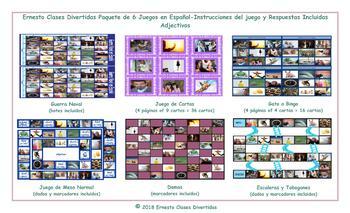 Adjectives 6 Spanish Photo Game Bundle