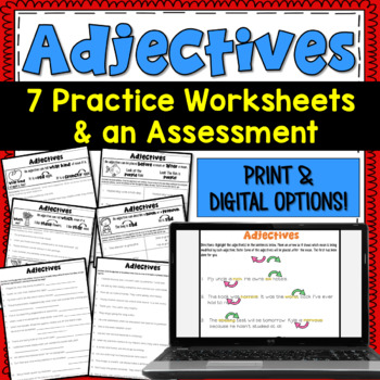 Adjectives: 7 Worksheets and 1 Assessment