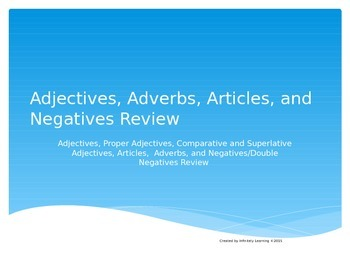 Adjectives, Adverbs, Articles and Negatives State Test Review (editable)