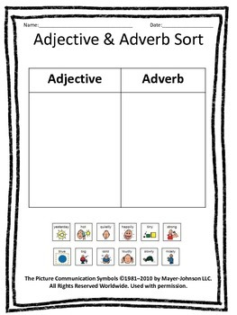 Adjectives & Adverbs Cut & Paste Sorting Activit - (with words & pictures)y