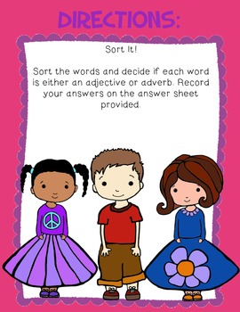 Adjectives & Adverbs File Folder Sort