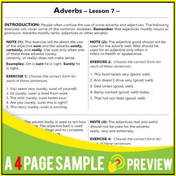 Adjectives | Adverbs | Grammar Lessons | Practice | Worksheets | Gr 5 - 6 | ELA