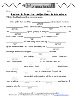 Adjectives & Adverbs Review Pack - The Grammarheads