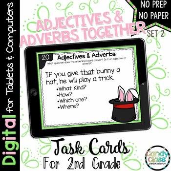 Adjectives & Adverbs - Set 2 - Digital Task Cards for Google™ Use