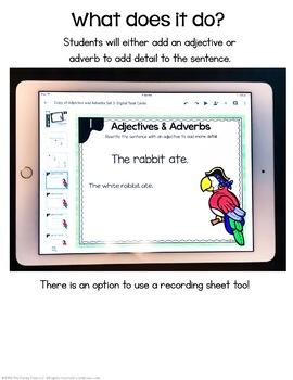 Adjectives & Adverbs - Set 3 - Digital Task Cards - Paperless Option
