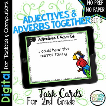 Adjectives & Adverbs - Set 3 - Digital Task Cards for Google Use