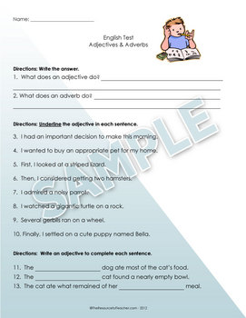 Adjectives and adverbs assessment teaching resources teachers pay adjectives adverbs test worksheet adjectives adverbs test worksheet fandeluxe Image collections