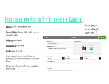 Adjectives Agreement and Ser - Create Your Own Kahoot Project