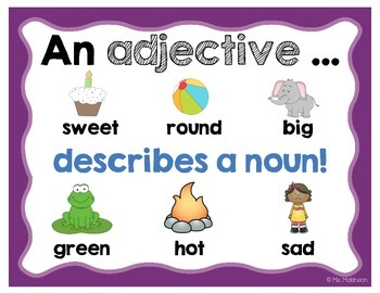 Adjectives Anchor Chart by Ms Makinson | Teachers Pay Teachers