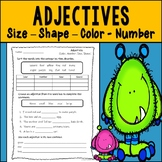 Adjectives Assessment or Practice: Color, Number, Size, and Shape