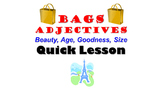 Adjectives: BAGS (Beauty, Age, Goodness, Size) French Quick Lesson