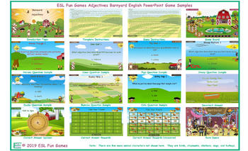 Adjectives Barnyard English PowerPoint Game