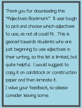 Adjectives Bookmark